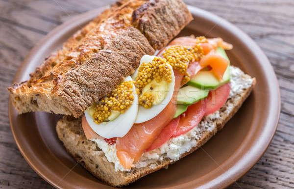 Stok fotoğraf: Sandviç · somon · avokado · yumurta · peynir · uygunluk