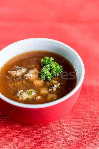 Baharatlı domates çorbası deniz ürünleri balık deniz plaka Stok fotoğraf © Alex9500