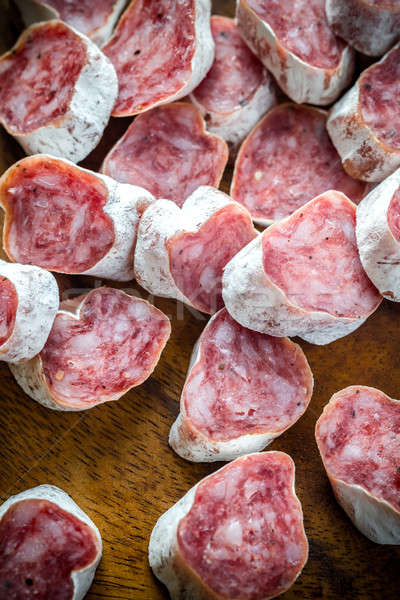 Slices of spanish salami Stock photo © Alex9500