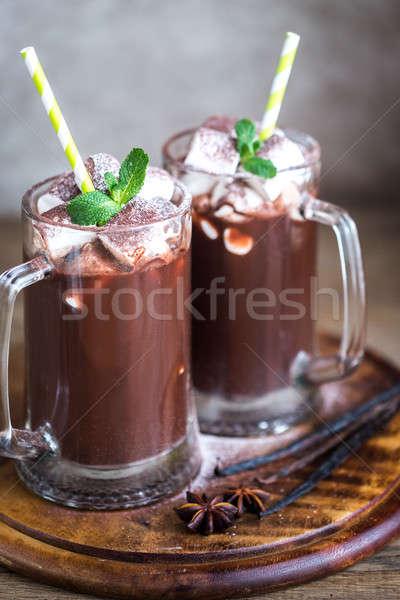 deux chocolat chaud alimentaire caf vert boire photo stock oleksandr prokopenko. Black Bedroom Furniture Sets. Home Design Ideas