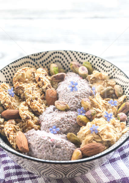 Oats with chia pudding and cereal cookies Stock photo © Alex9500