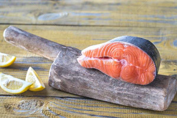 Raw salmon steak on the wooden board Stock photo © Alex9500