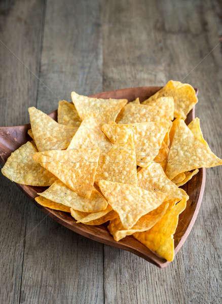 Queijo nachos tigela comida almoço rápido Foto stock © Alex9500