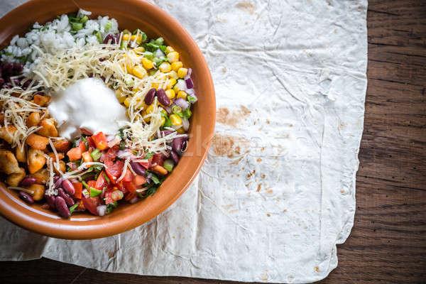 Kip kom achtergrond kaas salade peper Stockfoto © Alex9500