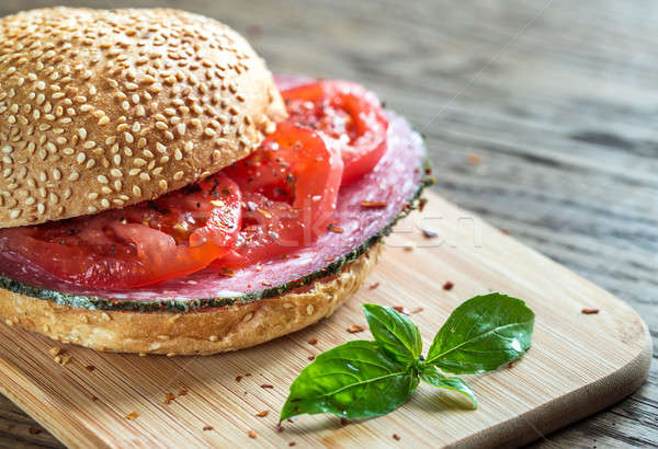 Sandwich salami tomaten voedsel brood diner Stockfoto © Alex9500