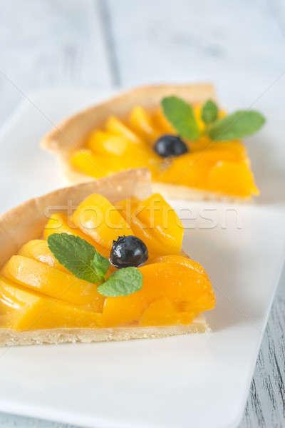 Stockfoto: Taart · perziken · voedsel · oranje