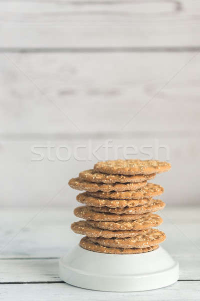 Stack of crispbread with sesame seeds Stock photo © Alex9500