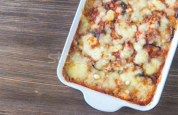 Dish of parmigiana di melanzane Stock photo © Alex9500