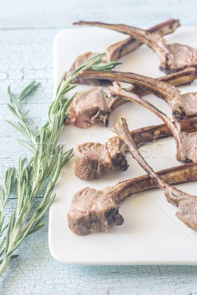 A la parrilla cordero costilla placa cocina restaurante Foto stock © Alex9500