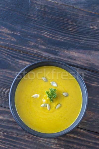 Ciotola zucca crema zuppa tavolo in legno sfondo Foto d'archivio © Alex9500