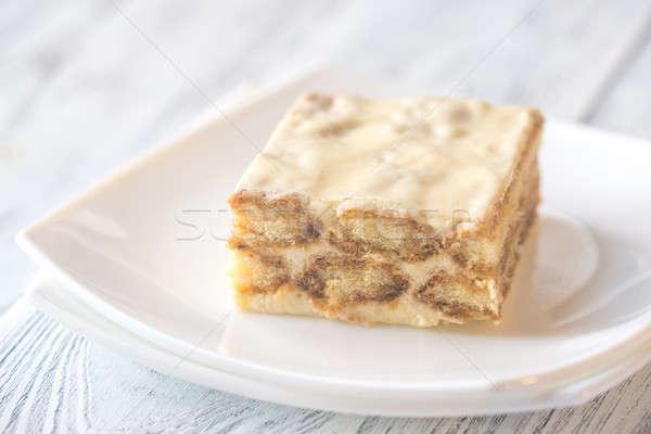 Tiramisu blanco placa luz mesa queso Foto stock © Alex9500