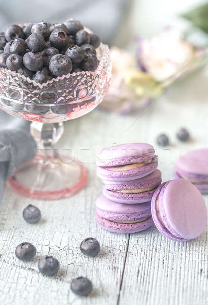 Macarons with fresh blueberries Stock photo © Alex9500