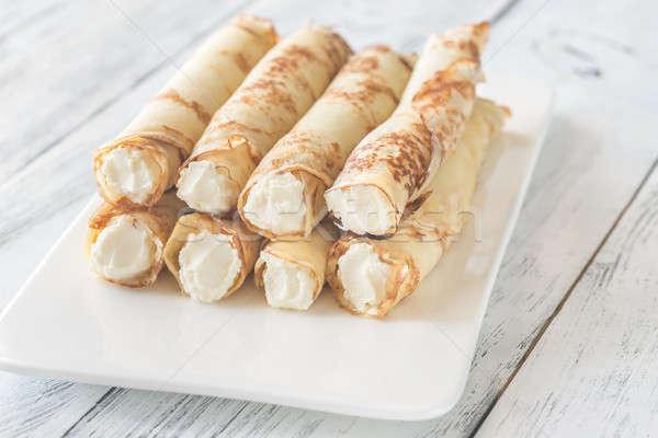 Krem peynir gıda yeme beyaz tahta Stok fotoğraf © Alex9500