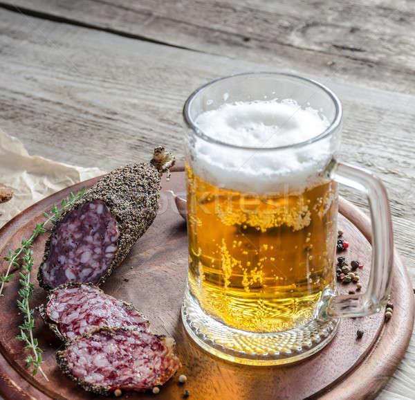 Tranches français saucisse verre bière table Photo stock © Alex9500