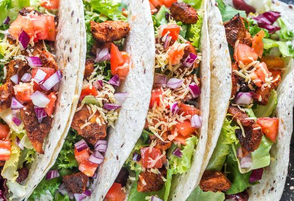 4 メキシコ料理 タコス 黒 食品 葉 ストックフォト © Alex9500