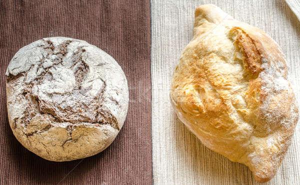 Siyah beyaz çavdar buğday ekmek tablo kahvaltı Stok fotoğraf © Alex9500