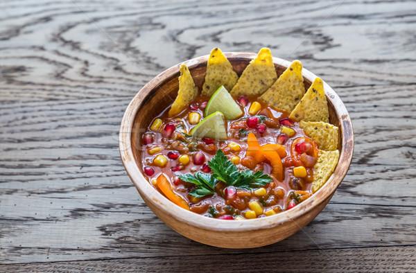 Meksika tortilla çorba ahşap gıda yeşil Stok fotoğraf © Alex9500