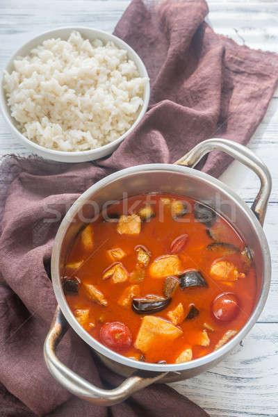 Thai rosso pollo al curry bianco riso latte Foto d'archivio © Alex9500