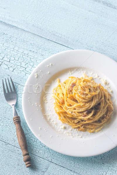 Foto stock: Porción · huevo · fondo · queso · pasta · carne
