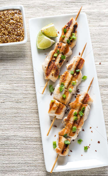 Grilled chicken skewers Stock photo © Alex9500