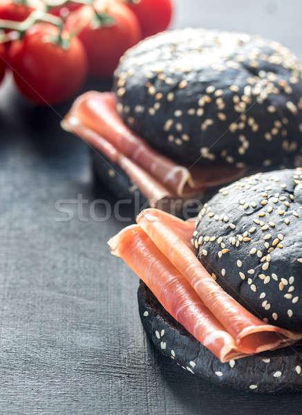 Preto sanduíche prosciutto presunto queijo trigo Foto stock © Alex9500