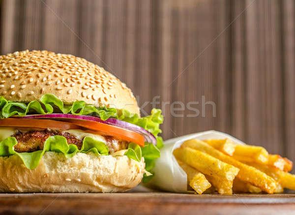 Hamburger frites françaises Photo stock © Alex9500