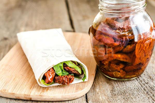 Tortilla zon gedroogd tomaten groene kaas Stockfoto © Alex9500
