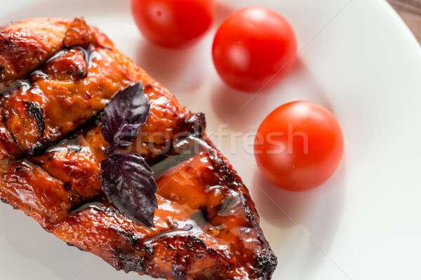 Stockfoto: Gegrilde · kip · biefstuk · kerstomaatjes · borsten · hot · mango