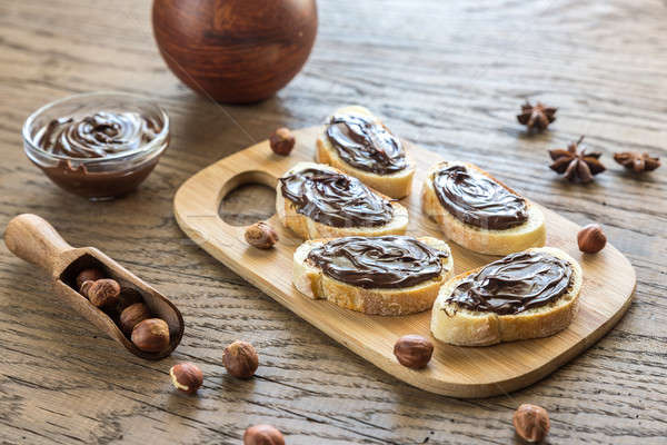Rebanadas baguette chocolate crema Foto stock © Alex9500