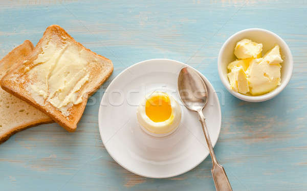 Boiled egg with crispy toasts on the wooden table Stock photo © Alex9500