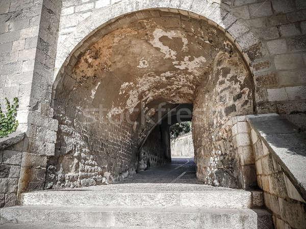 Middeleeuwse kwartaal Spanje huis gebouw architectuur Stockfoto © Alex9500
