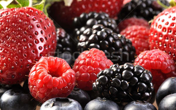 Photo stock: Berry · fraîches · baies · table · framboise