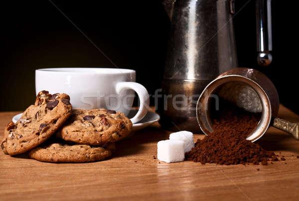 белый Кубок кофе овсяный Cookies продовольствие Сток-фото © alex_davydoff