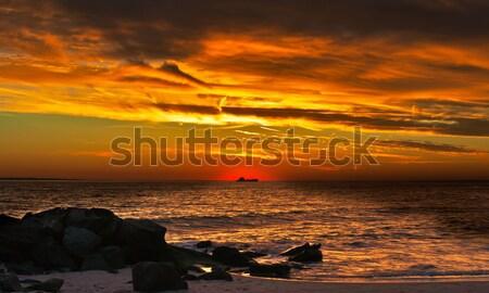 красивой закат океана побережье судно силуэта Сток-фото © alex_davydoff