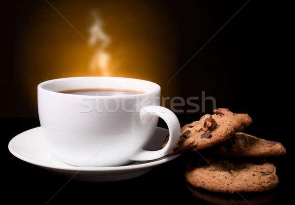 кофе дым белый Кубок овсяный Cookies Сток-фото © alex_davydoff