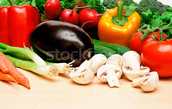 овощей таблице различный цвета лежать оранжевый Сток-фото © alex_davydoff