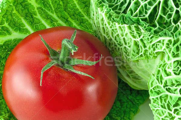томатный капуста красный зеленый фон студию Сток-фото © alex_davydoff