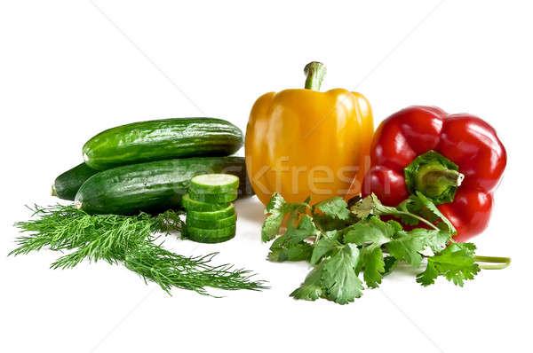 Pepino pimenta salsa funcho isolado branco Foto stock © alex_davydoff