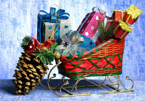 сани Рождества подарки игрушками зима красный Сток-фото © alex_davydoff
