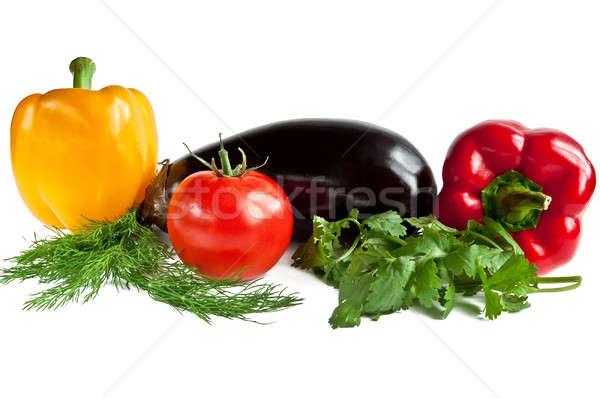 овощей красный желтый перец томатный баклажан Сток-фото © alex_davydoff