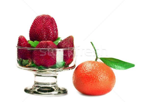 клубники мандарин клубника фрукты красный извести Сток-фото © alex_davydoff