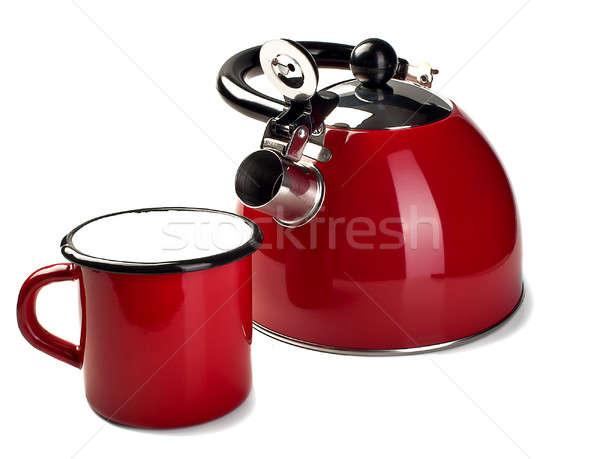 чайник кружка красный цвета изолированный белый Сток-фото © alex_davydoff
