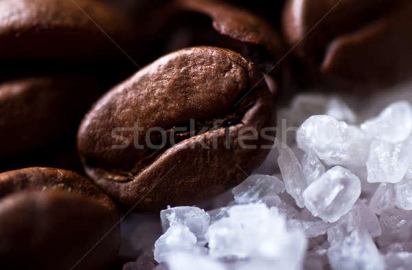 кофе сахар черный кофе текстуры продовольствие Сток-фото © alex_davydoff