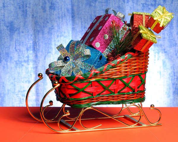сани подарки игрушками Рождества красный игрушку Сток-фото © alex_davydoff