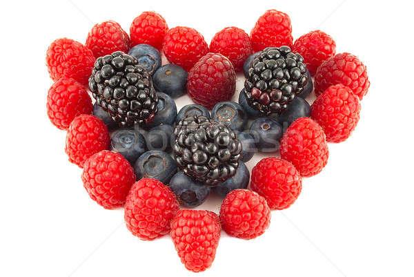 сердце Ягоды малиной BlackBerry изолированный белый Сток-фото © alex_davydoff