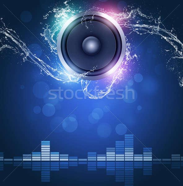 Zene hang hangszóró hangszínszabályozó víz hullámok Stock fotó © alexaldo