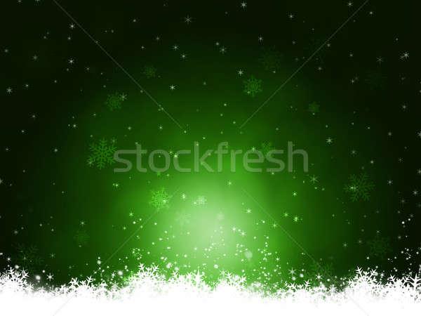 Tél sötét zöld absztrakt karácsony hó Stock fotó © alexaldo
