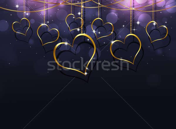 Stock photo: Golden Hearts Valentine Card