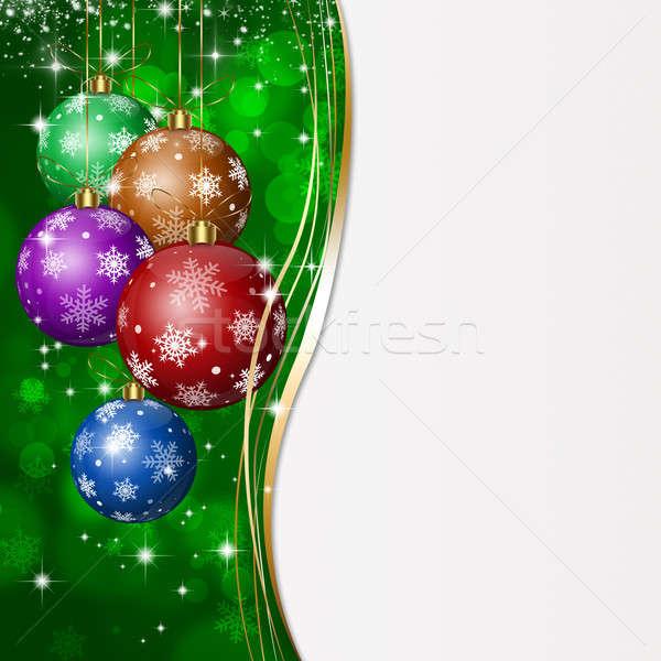 Green Xmas Greeting Card Stock photo © alexaldo