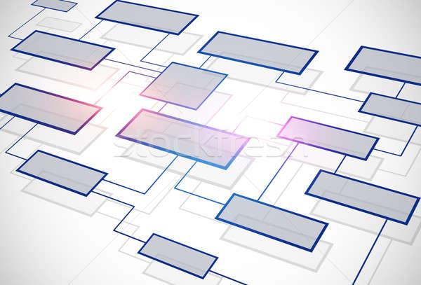 Negócio fluxograma comunicação branco abstrato azul Foto stock © alexaldo